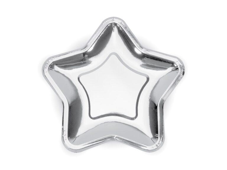 Χάρτινα Πιάτα Αστέρι Ασημένιο 23εκ – 6 Τεμάχια