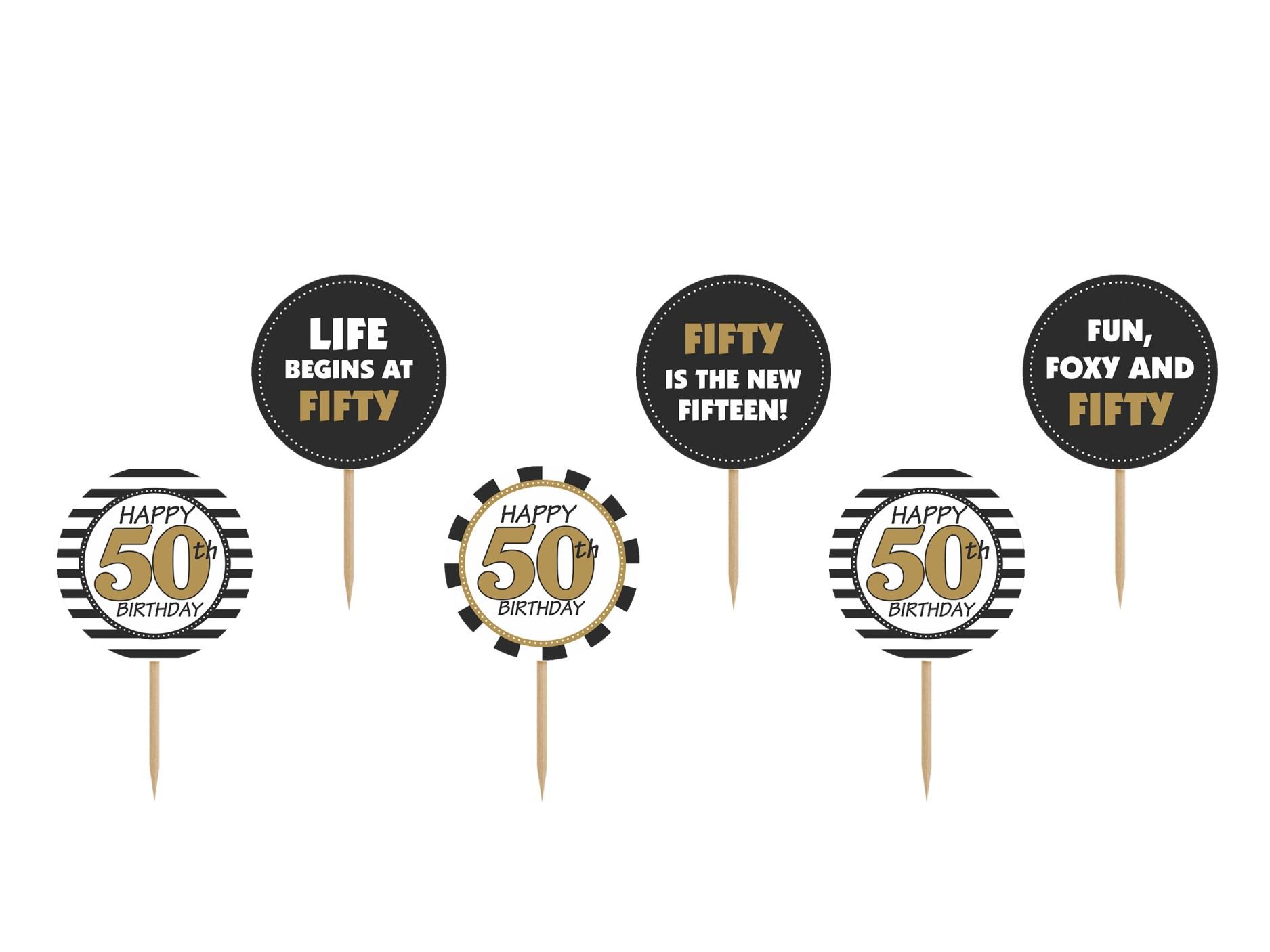 Χάρτινα Διακοσμητικά Στικ Happy 50th Birthday – 6 Τεμάχια