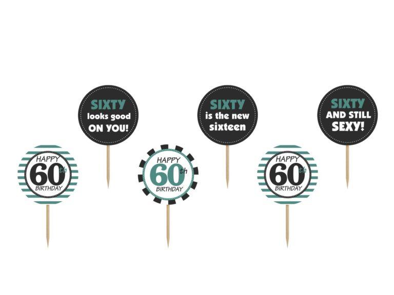 Χάρτινα Διακοσμητικά Στικ Happy 60th Birthday – 6 Τεμάχια