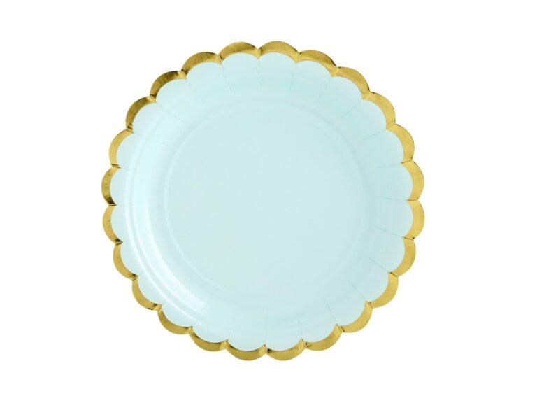 Χάρτινα Πιάτα Μέντα με Χρυσό 18εκ – 6 Τεμάχια