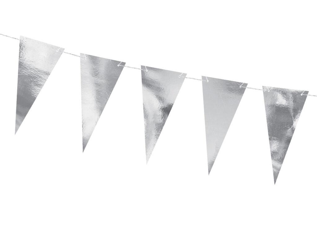 Χάρτινη Γιρλάντα με Σημαιάκια Ασημί