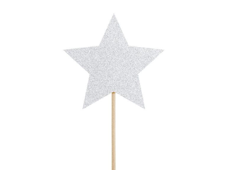 Χάρτινα Διακοσμητικά Στικ Αστεράκια Ασημί με Γκλίτερ – 6 Τεμάχια