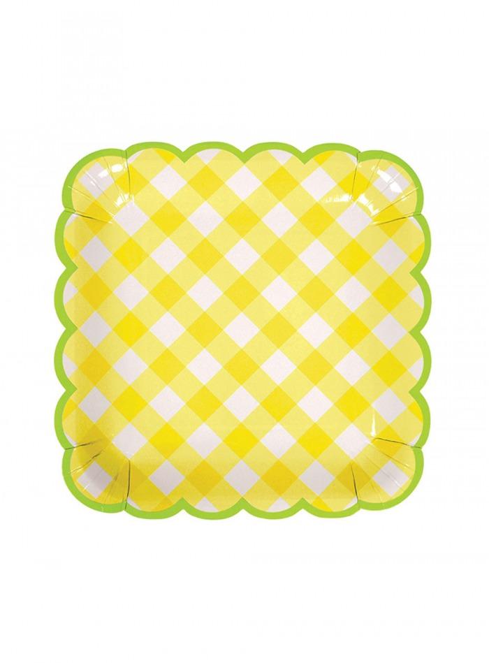 Χάρτινα Πιάτα Καρό Κίτρινα με 'Ασπρο 18εκ – 12 Τεμάχια