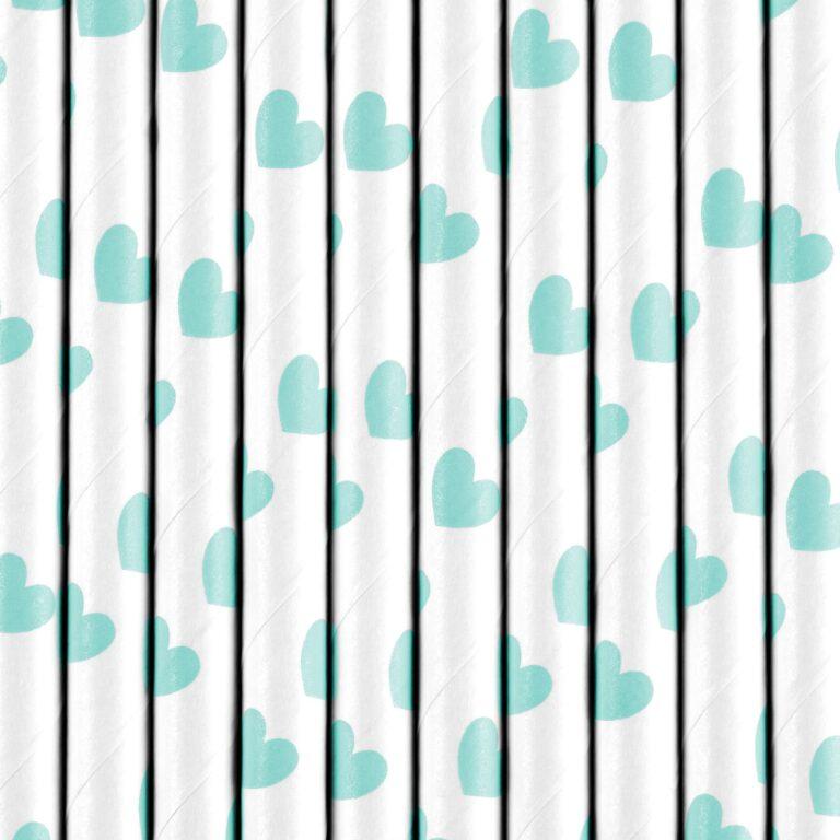 Χάρτινα Καλαμάκια Λεύκα με Γαλάζιες Καρδούλες – 10 Τεμάχια