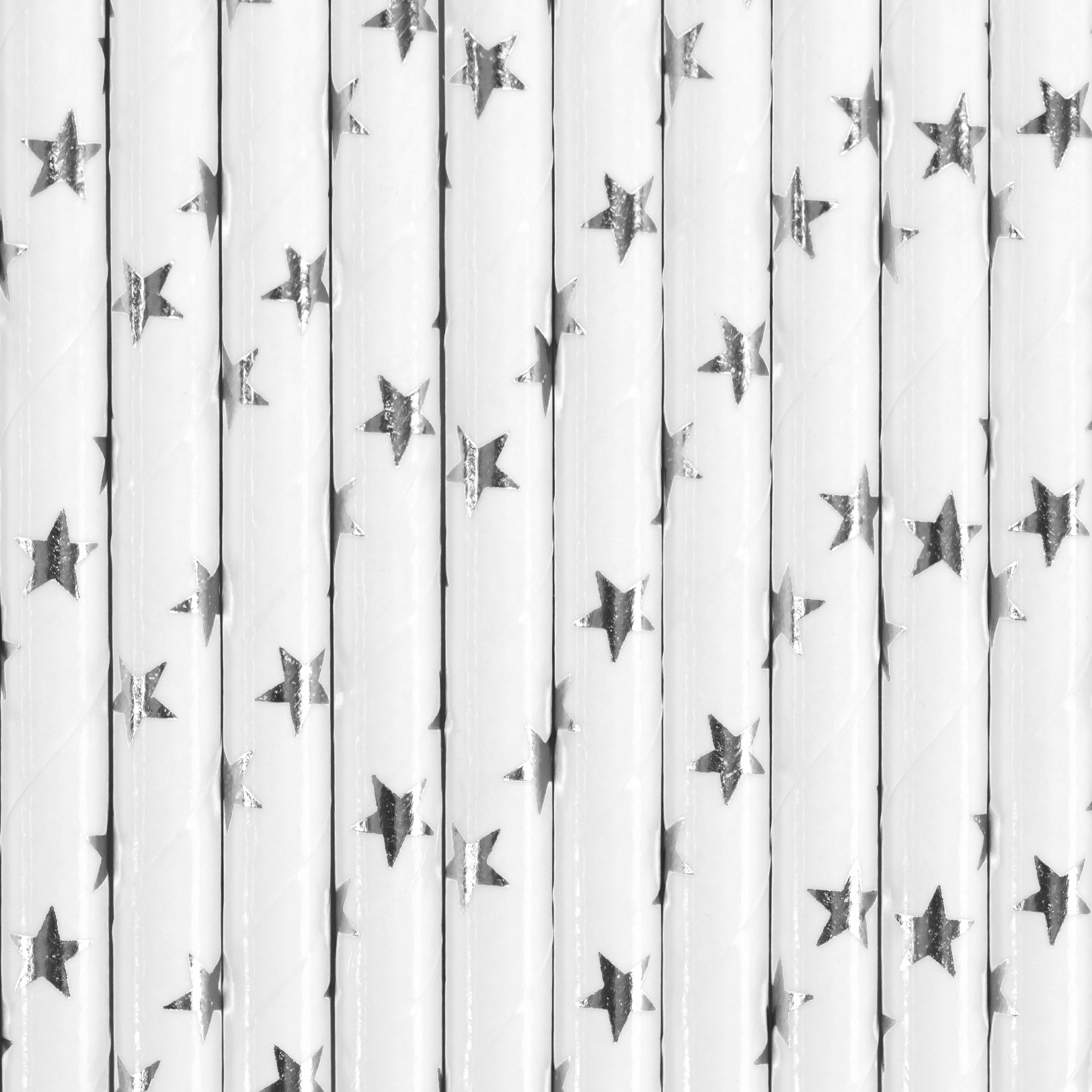 Χάρτινα Καλαμάκια Λεύκα με Ασημένια Αστεράκια – 10 Τεμάχια