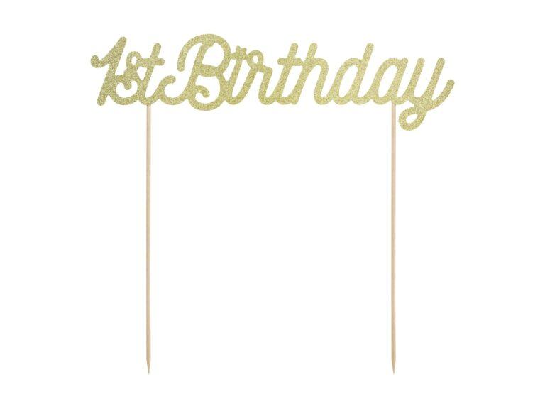 Χάρτινο Διακοσμητικό Τούρτας 1st Birthday Χρυσό Γκλίτερ