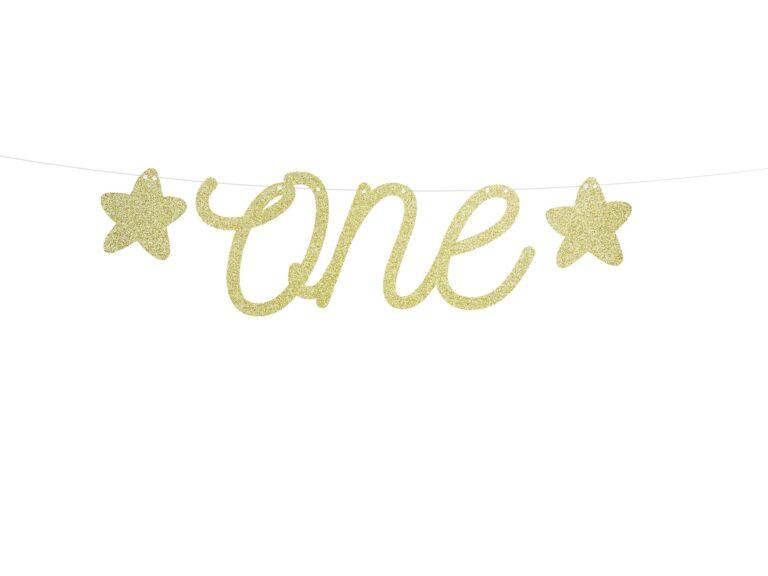 Χάρτινη Γιρλάντα 1st Birthday-One με Γκλίτερ Χρυσό