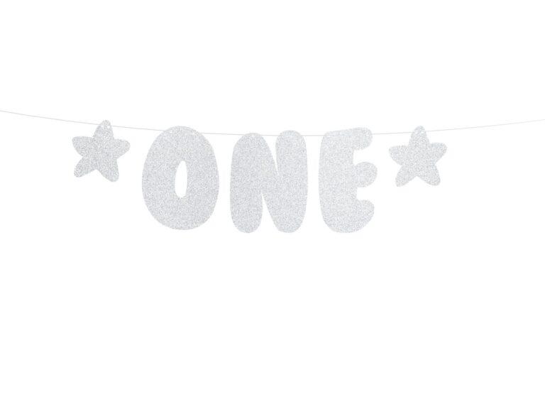 Χάρτινη Γιρλάντα 1st Birthday-One με Γκλίτερ Ασημί