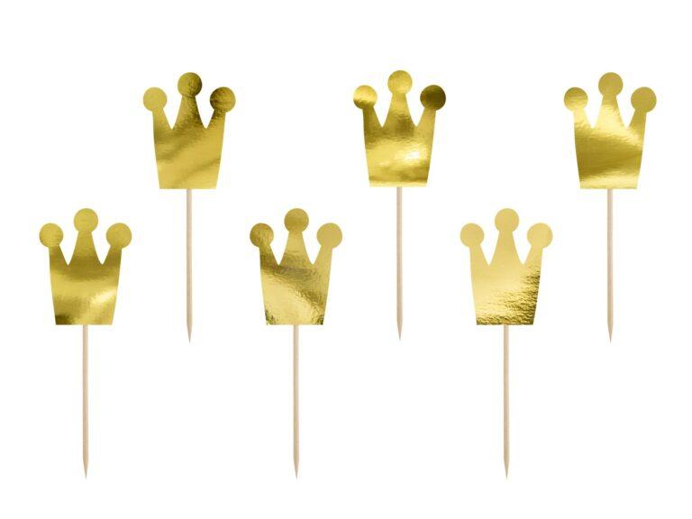 Χάρτινα Διακοσμητικά Στικ Κορώνες Χρυσές – 6 Τεμάχια