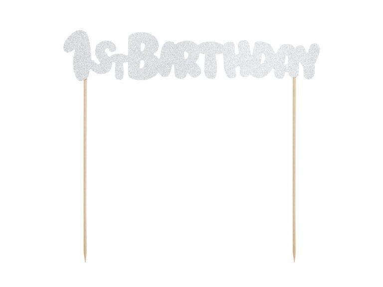 Χάρτινο Διακοσμητικό Τούρτας 1st Birthday Ασημί Γκλίτερ