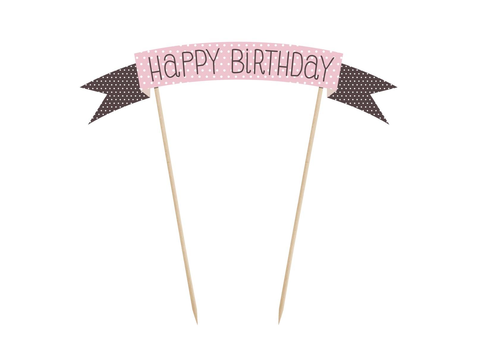 Χάρτινο Διακοσμητικό Τούρτας Happy Birthday