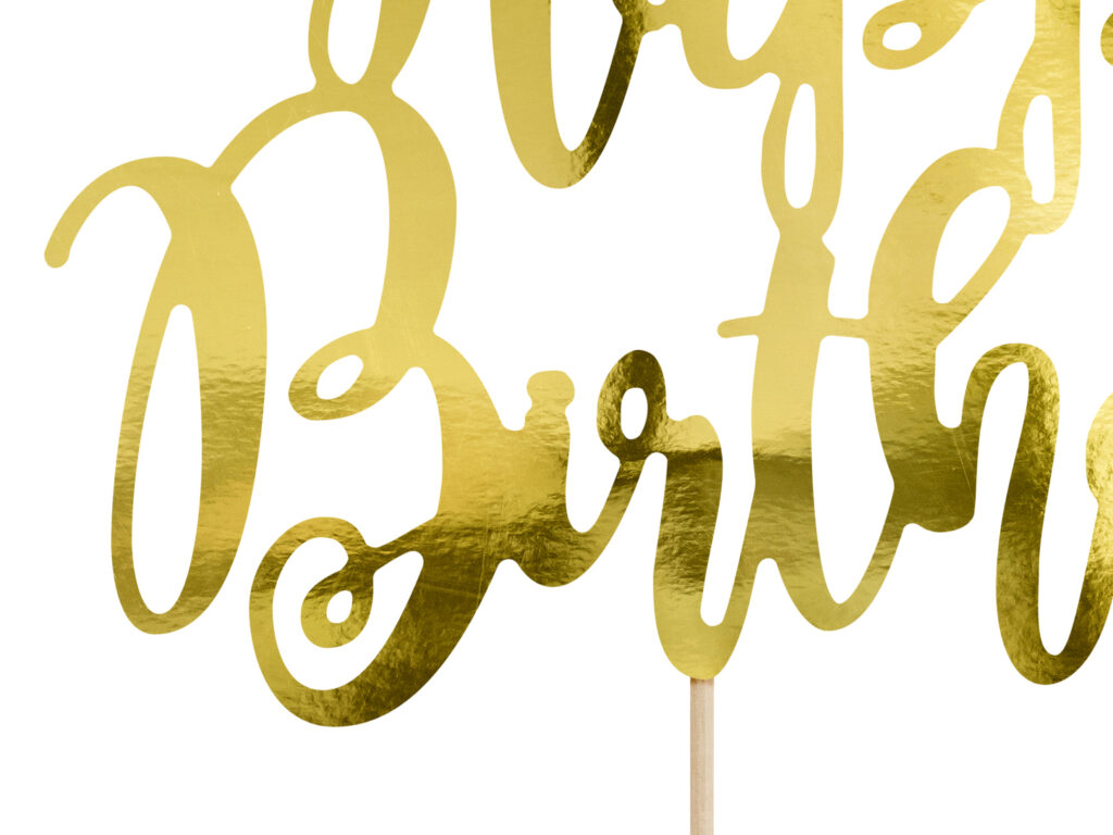 Χάρτινο Διακοσμητικό Τούρτας Happy Birthday Χρυσό
