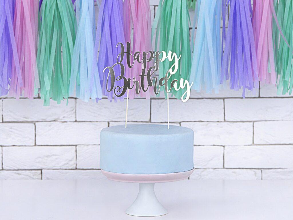 Χάρτινο Διακοσμητικό Τούρτας Happy Birthday Ασημί