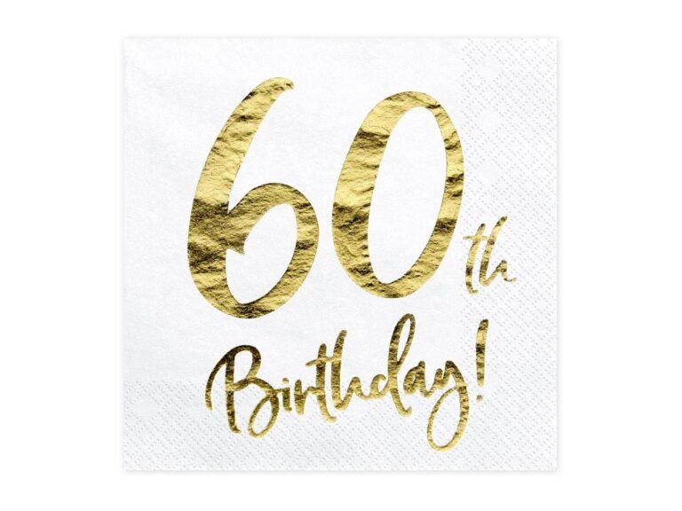 Χαρτοπετσέτες 60th Birthday 33×33εκ – 20 Τεμάχια