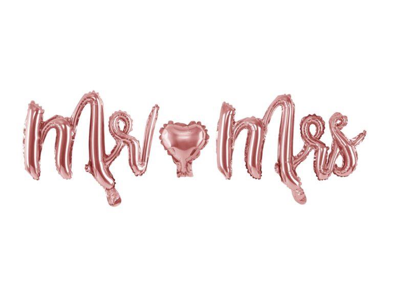 Μπαλόνια Foil Mr Mrs Ροζ χρυσό