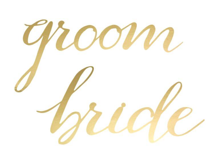 Chair Signs Bride & Groom Χρυσές