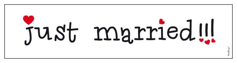 Χάρτινη Πινακίδα Just Married Λευκή