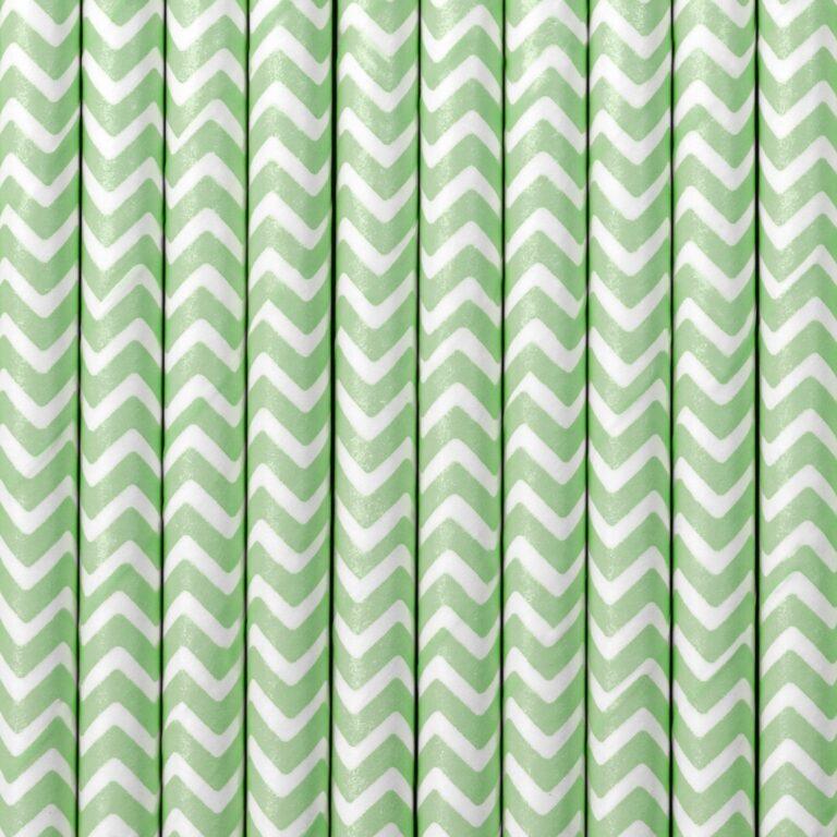 Χάρτινα Καλαμάκια Πράσινο με 'Ασπρο Ζικ Ζακ – 10 Τεμάχια