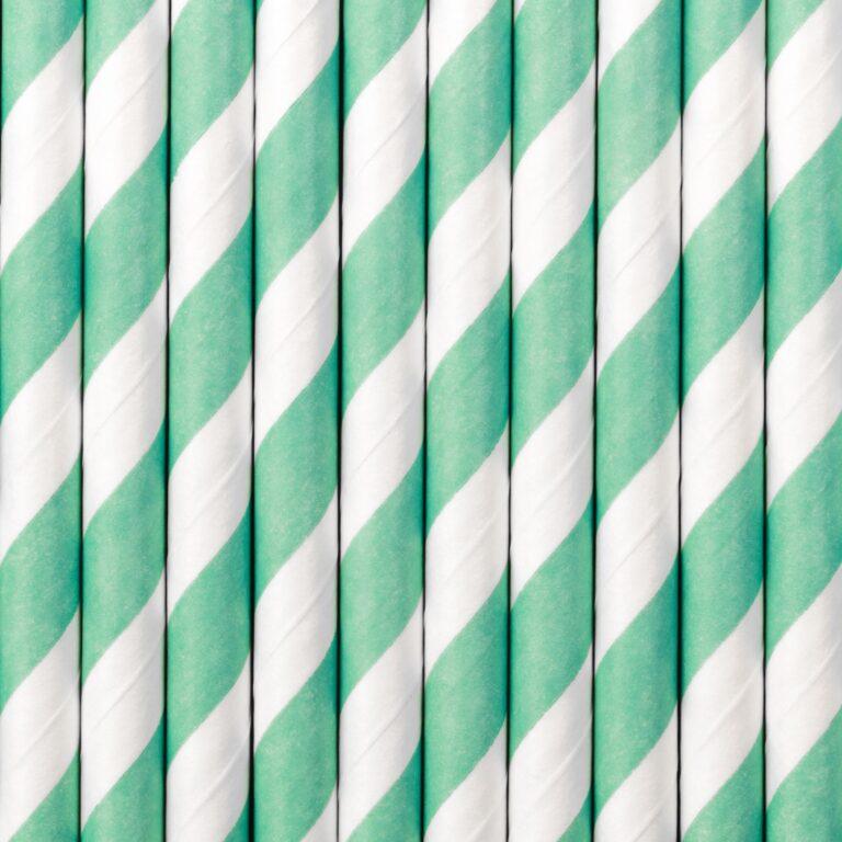 Χάρτινα Καλαμάκια Ριγέ Tiffany Blue με 'Ασπρο – 10 Τεμάχια