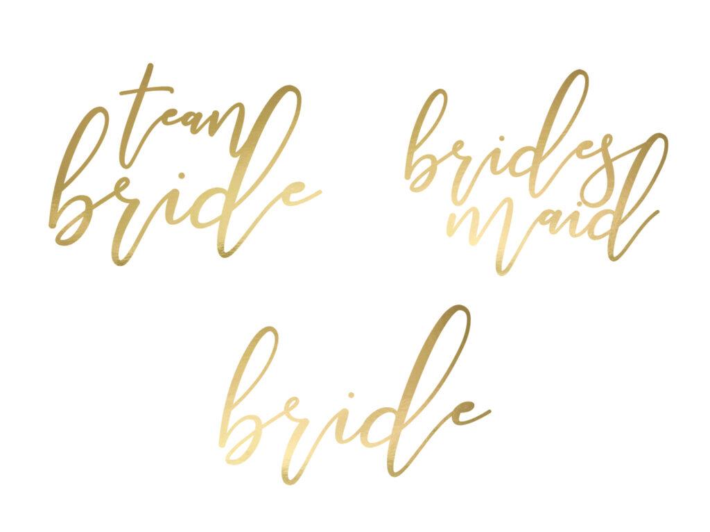 Τατουάζ Gold Calligraphy Bachelorette – 15 Τεμάχια