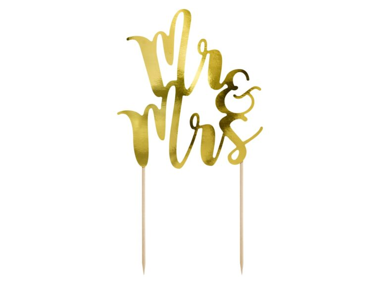 Χάρτινο Διακοσμητικό Τούρτας Mr & Mrs Χρυσό