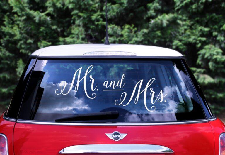 Αυτοκόλλητο Αυτοκινήτου Mr and Mrs