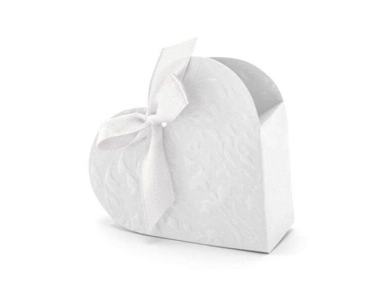 Χάρτινα Κουτάκια Καρδούλες Λευκά – 10 Τεμάχια