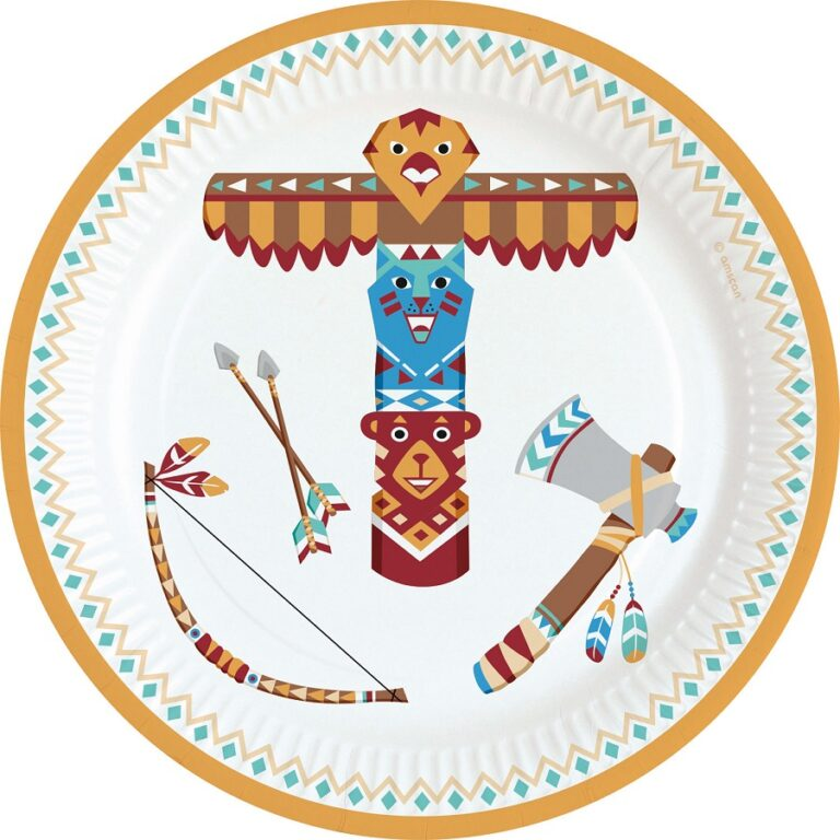 Χάρτινα Πιάτα Ινδιάνοι 18εκ – 8 Τεμάχια