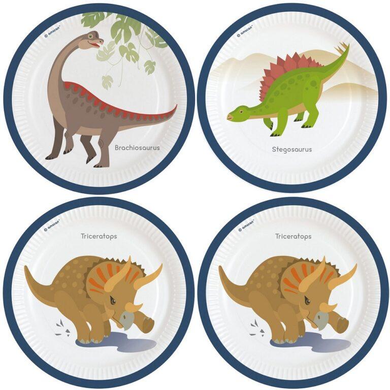 Χάρτινα Πιάτα Δεινοσαυράκια 23εκ – 8 Τεμάχια
