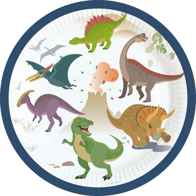 Χάρτινα Πιάτα Δεινοσαυράκια 18εκ – 8 Τεμάχια