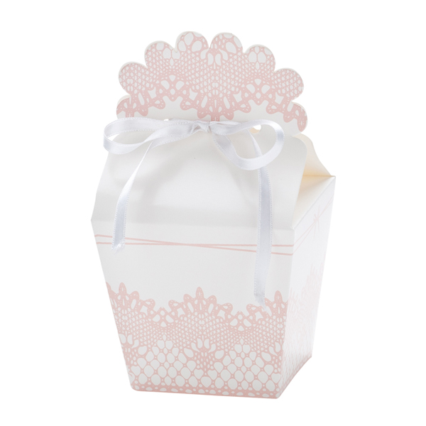 Χάρτινα Κουτάκια Ροζ με Λευκό – 12 Τεμάχια