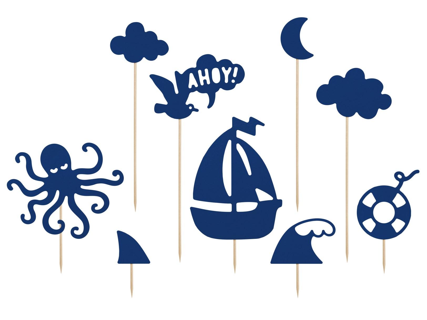 Χάρτινα Διακοσμητικά Τούρτας Ahoy – 9 Τεμάχια