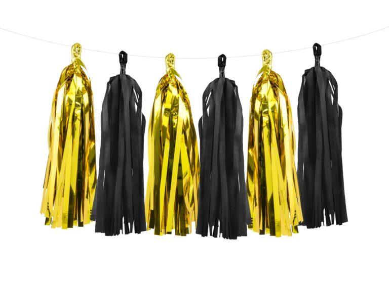 Χάρτινη Γιρλάντα Tassel Χρυσό-Μαύρο