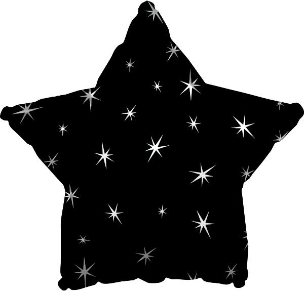Μπαλόνι Foil Μαύρο Αστέρι με Ασημί Λεπτομέριες 46εκ