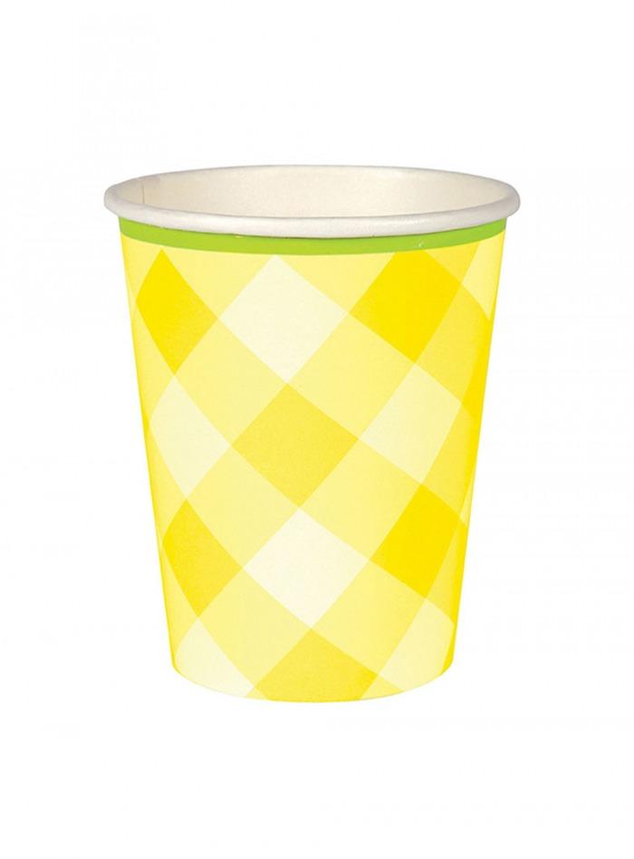 Χάρτινα Ποτήρια Καρό Κίτρινα με 'Ασπρο – 12 Τεμάχια