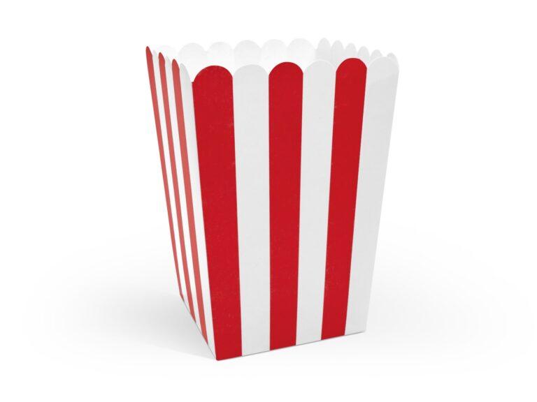 Χάρτινα Κουτάκια Ποπ Κορν Ριγέ Κόκκινο με 'Ασπρο – 6 Τεμάχια