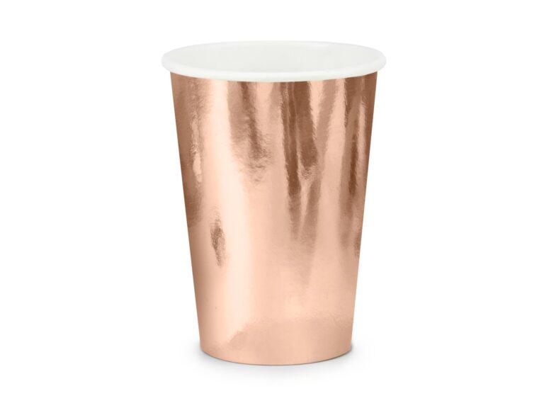 Χάρτινα Ποτήρια Rose Gold 220ml – 6 Τεμάχια