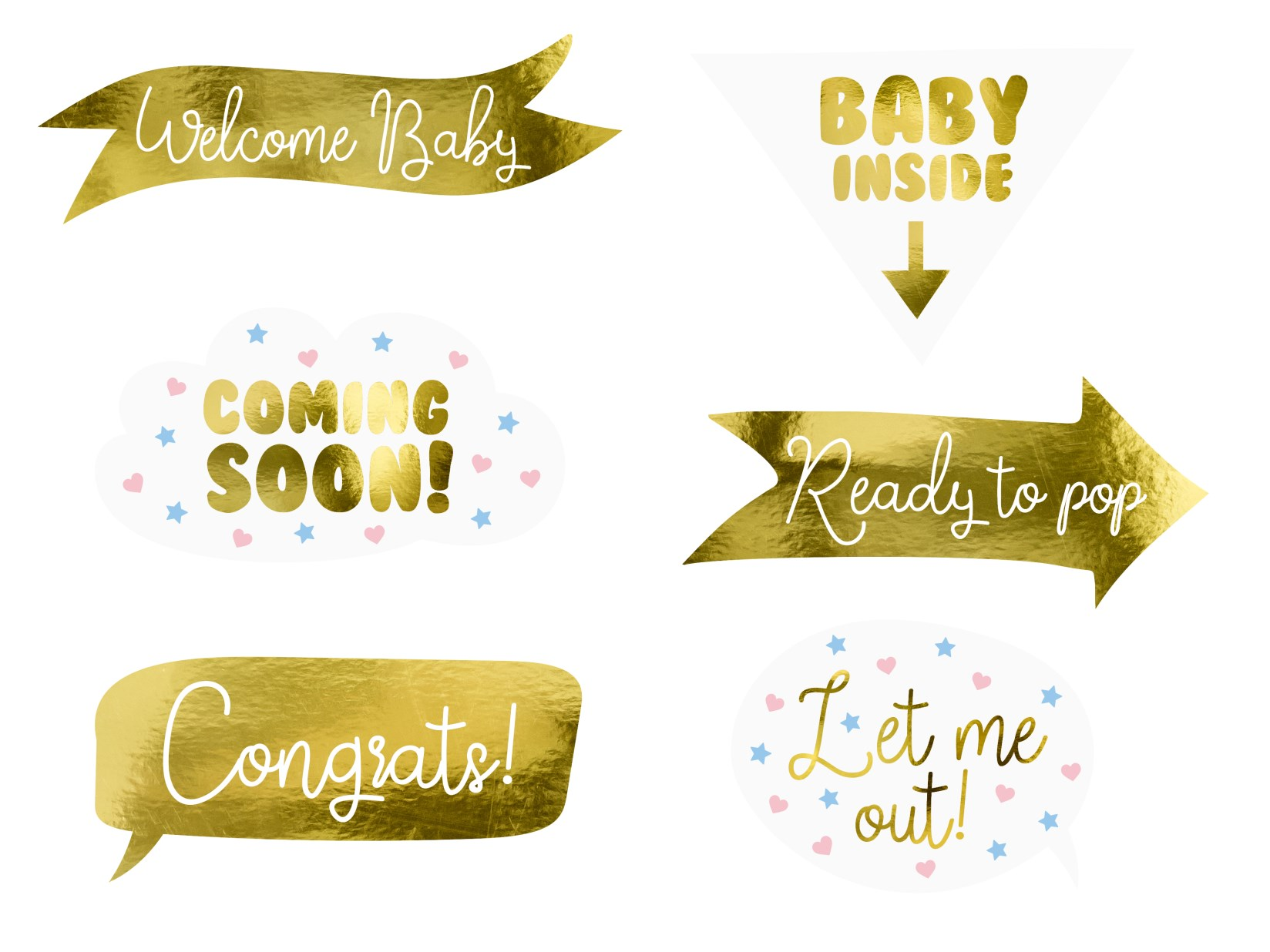 Photo Booth Props Baby Shower – 6 Τεμάχια