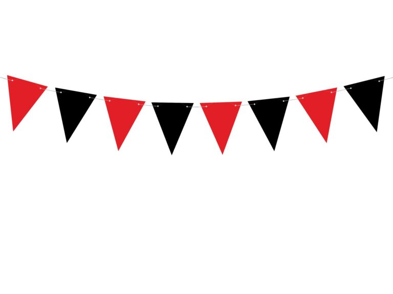 Χάρτινη Γιρλάντα με Σημαιάκια Μαύρα & Κόκκινα