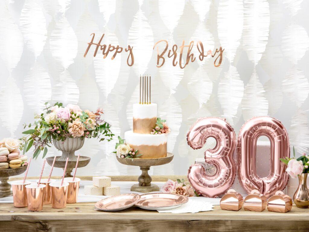 Χάρτινη Γιρλάντα Happy Birthday Ροζ Χρυσό