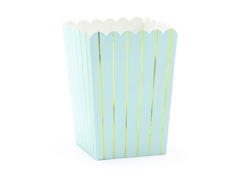 Χάρτινα Κουτάκια Ποπ Κορν Ριγέ Γαλάζιο με Χρυσό – 6 Τεμάχια