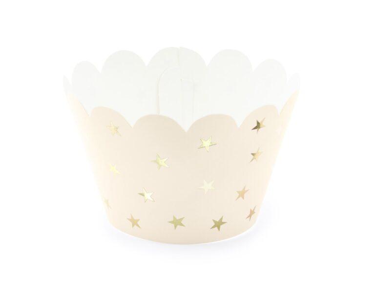 Χάρτινες Διακοσμητκές Θήκες Cupcakes Σομόν με Χρυσά Αστεράκια – 6 Τεμάχια