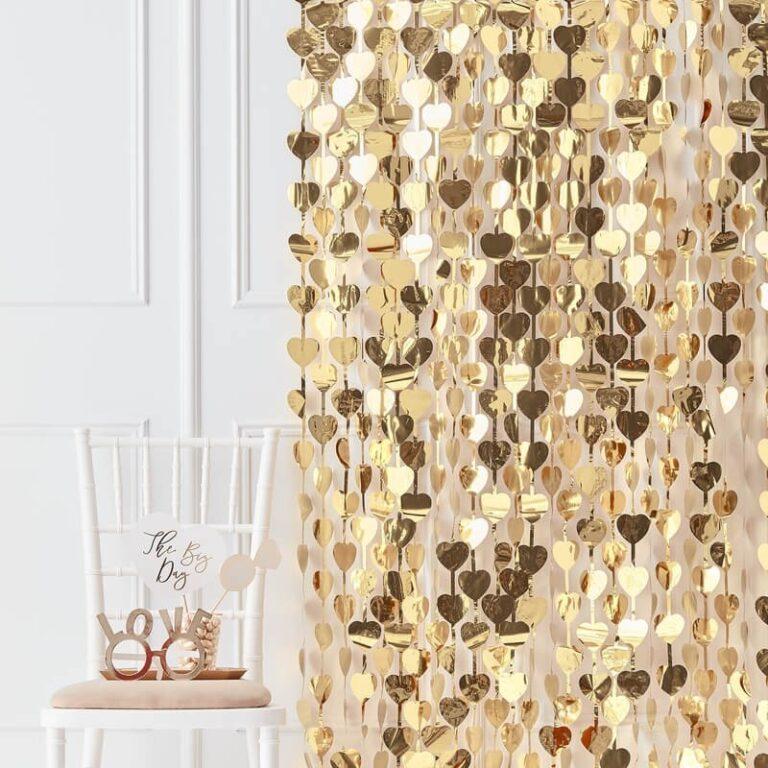 Διακοσμητική Κουρτίνα Χρυσές Καρδιές  100×250εκ.