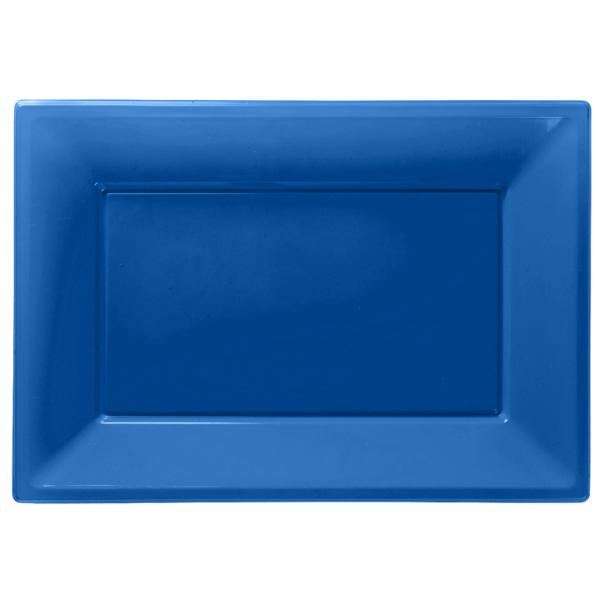 Πλαστική Πιατέλα Μπλε 3 Τεμάχια