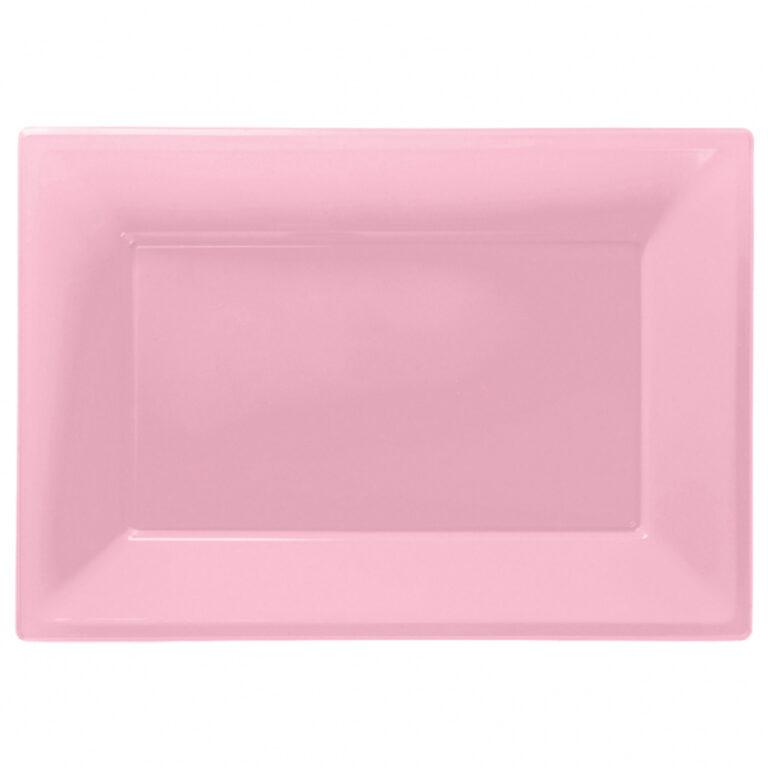 Πλαστική Πιατέλα Ροζ 3 Τεμάχια