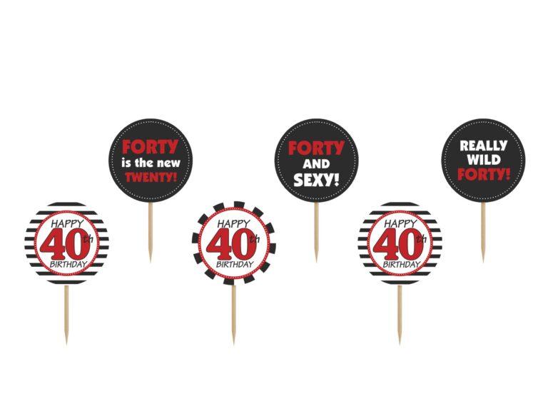 Χάρτινα Διακοσμητικά Στικ Happy 40th Birthday – 6 Τεμάχια