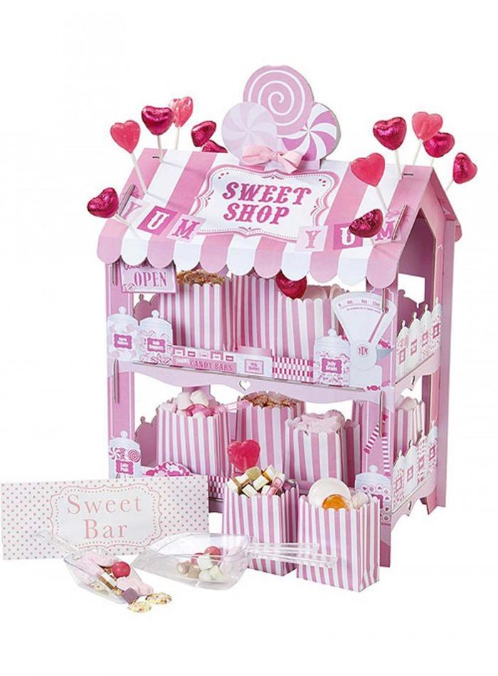 Χάρτινο Stand Sweet Shop Ροζ Λευκό