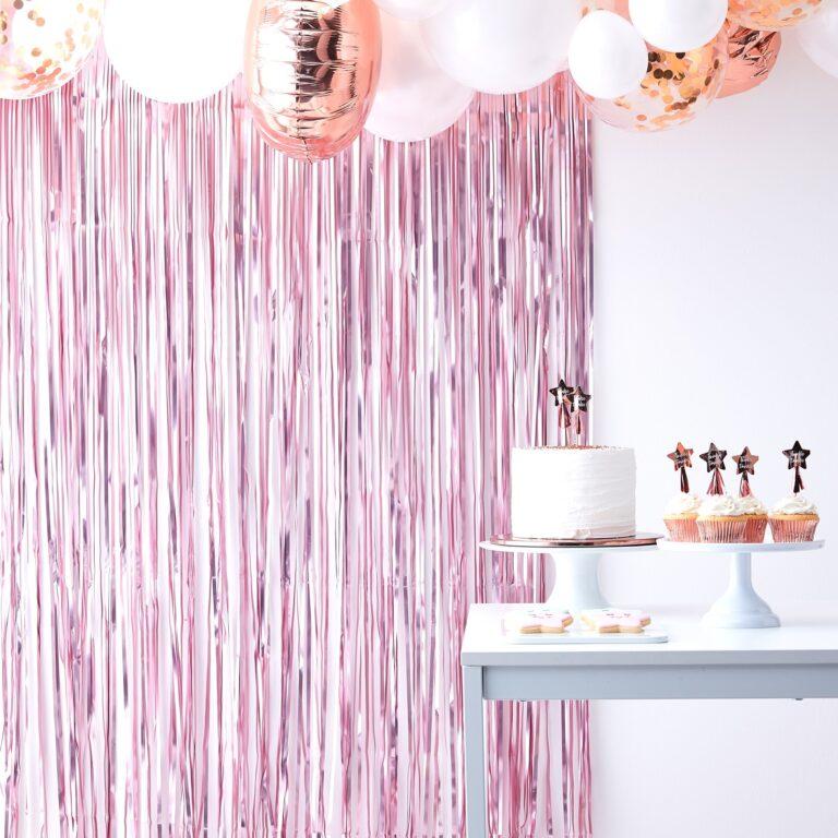 Διακοσμητική Κουρτίνα Ροζ Ματ 100×250εκ.