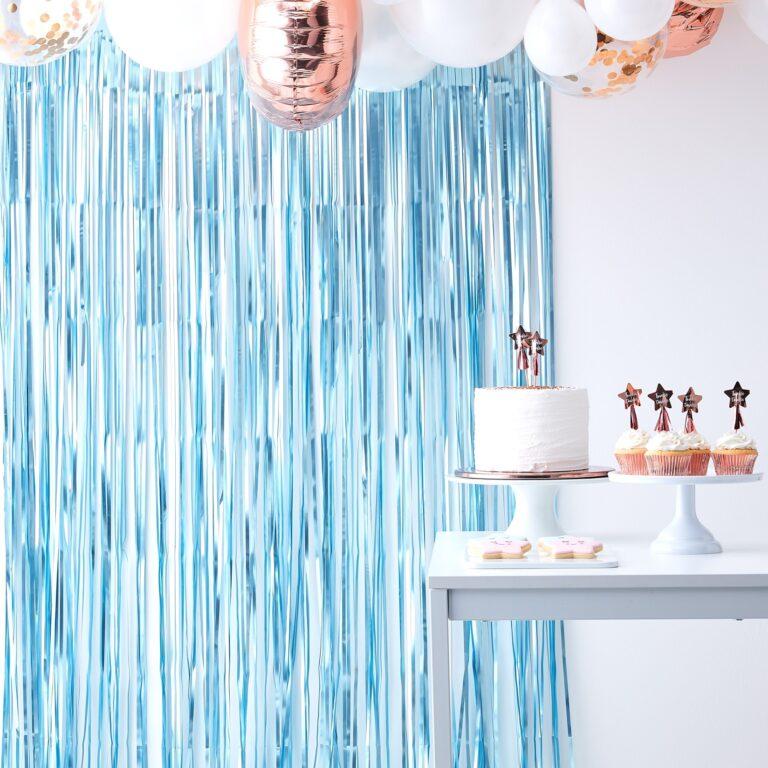 Διακοσμητική Κουρτίνα Γαλάζια Ματ 1×2,5 μέτρα