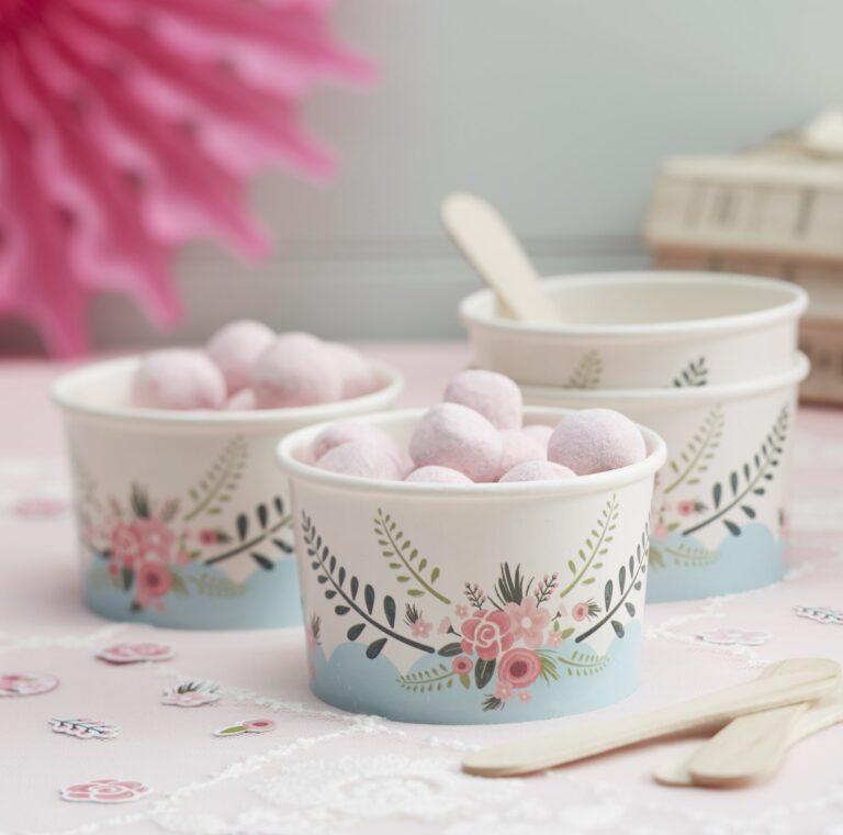 Χάρτινα Κυπελλάκια Παγωτού Floral – 8 Τεμάχια